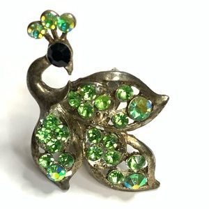 Vintage Green Rhinestone Peacock Ring Adjustable